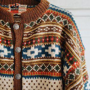Hand Knitted Wool Fair Isle Sweater Cardigan S-XL